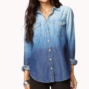 Forever 21 Blue Denim Ombré Chambray Button Down